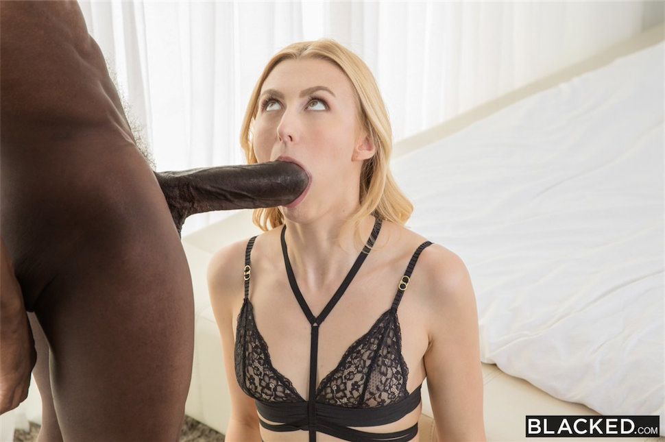 Blonde angel smalls sucking black cock 5
